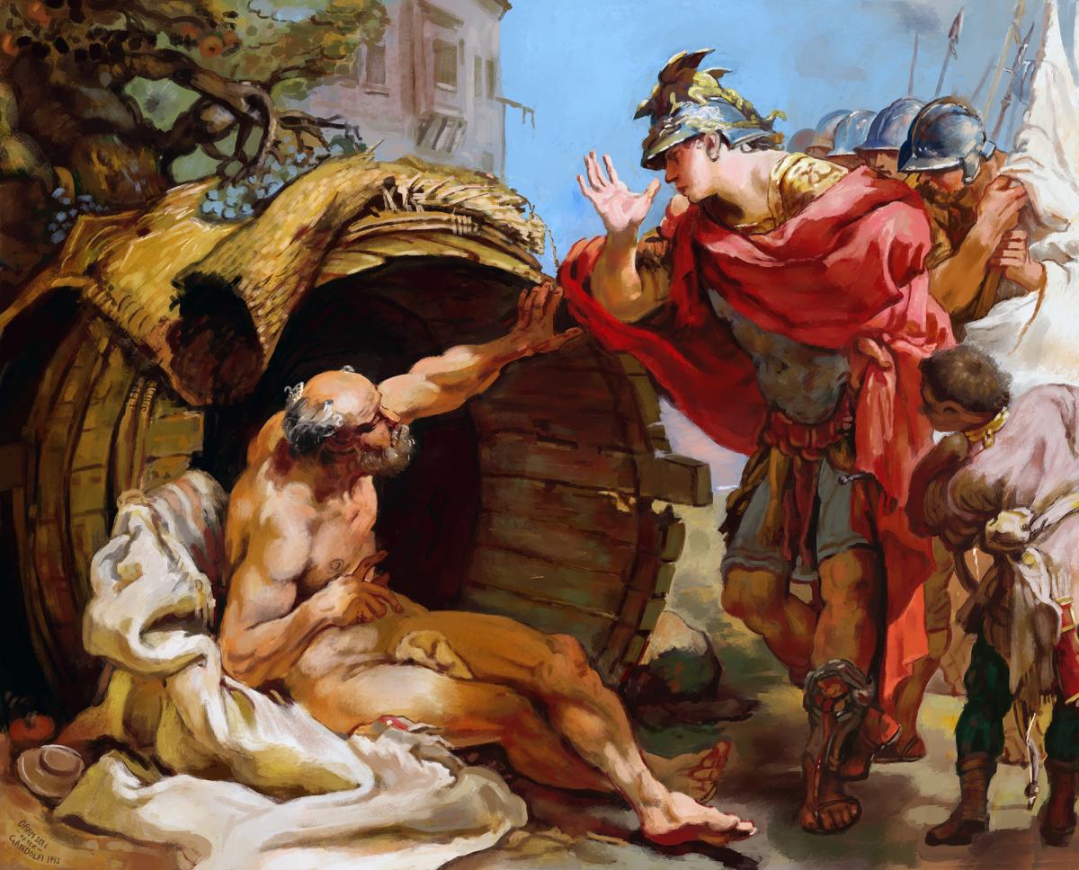 LA ZAD EN L'ÉTROIT TERRITOIRE - L'OUTRE-RÉEL IV.2 LukeOram_Diogenes_and_Alexander-1-1200x968
